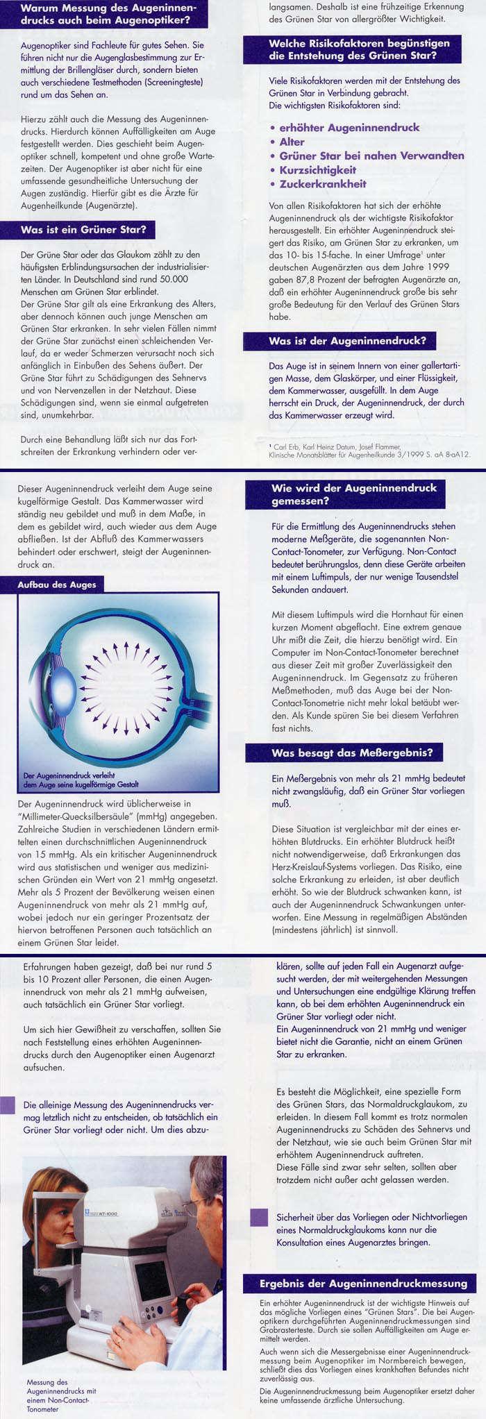 Optik Augeninnendruck